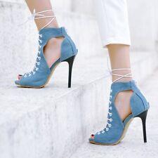 Women's Canvas High Stiletto Heels Sandals Lace Up Zipper Nightclub Pumps Shoes