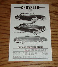 1951 Chrysler Factory Delivered Prices Sales Brochure 51 Imperial New Yorker