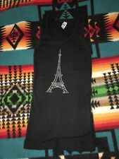 American Apparel Classy Girl ribbed T shirt with rhinestone Eiffel Tower size M/