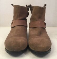 Rosegold Brown Suede Round Toe Buckle Strap Equestrian Ankle Boots 40 US 9.5M