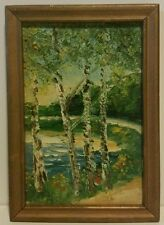 Impressionist Painting autumn trees beach signed back 1971 Marian Steele small