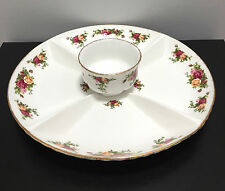Royal Albert OLD COUNTRY ROSES Chip & Dip Appetizer Snack Platter Bowl Set w Tag