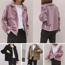 Plus size Jacket Shirt Coat Tops Corduroy Casual Long Sleeve Vintage New Hot