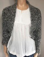 MAX MARA Shawl SZ S Mohair Cashmere Wool Knit Sweater Jacket Gray Made Italy