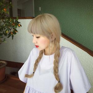 Korean Double Long Braided Ponytail Wig w/ Bangs Blonde Anime Lolita Cosplay