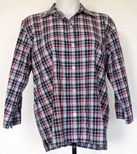 Liz Claiborne Blue and Red Plaid Woven Cotton 3/4 Sleeve Button-Front Shirt M