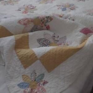Cheerful Daisy VINTAGE 30s Feedsacks + Marigold Yellow QUILT 89x78