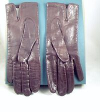 Vintage Brown Ladies 8.5 Inch Length Buttery Soft Leather Gloves Fits Slim Hand