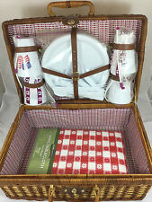 Brown Wicker Picnic Basket w/ Red/White/Blue Interior + Set of 4 Plastic Dishes