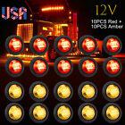 20x Pickup Round Side Marker Lights 34led Bullet Light Truck Trailer Amber Red