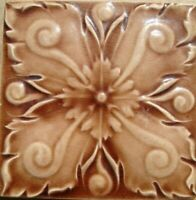 Relief Molded Original period antique tile 6x6 Art Nouveau Majolica Corn Bros.
