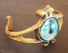 Bracelet en bronze 60 ou 70  avec cabochon en verre style Line vautrin
