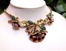 Vintage 1932 Rhinestone Enamel Flower Necklace & Fur Dress Clip Set