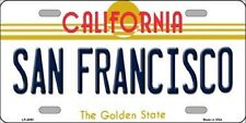 SAN FRANCISCO California State Background Metal Novelty License Plate