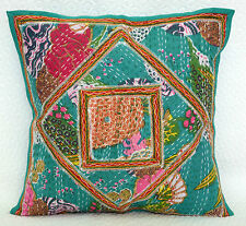 Indian Designer Kantha Green Floral Patchwork Pillow Case Ethnic Cushion Cover