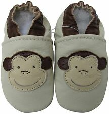 carozoo  monkey cream 3-4y soft sole leather toddler shoes slippers