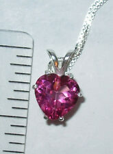 HOT PINK TOPAZ HEART PENDANT NECKLACE 8MM ITALIAN CHAIN STERLING SILVER