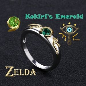 Zelda Breath of The Wild Sheikah Slate Kokiri Emerald Engagement 925 Silver Ring