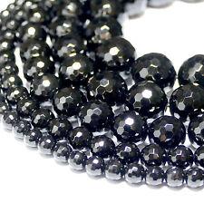 Onyx Perlen 2 - 16 mm schwarz glänzende facettierte Kugeln, 1 Strang Edelsteine