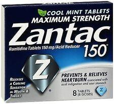 Zantac 150mg Tablets, Maximum Strength, Cool Mint, 8 Tablets ea (Pack of 6)