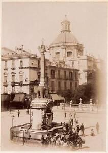 Catania Sicily Elephant Fountain Street scene Large albumen photo 1900c XL94
