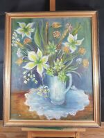 BUNCH OF FLOWERS STILL LIFE PAINTING ON CANVAS INDISTINCTLY SIGNED M. BARTON ???