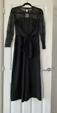 Zara Black Wide Leg Jumpsuit With Lace Sleeves Size M