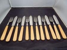 Antiguo Charles James Allen Plateado pescado cuchillos y tenedores