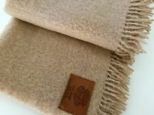 Deluxe italien jeté Plaid Couverture 100% MOHAIR extrafine 135x170cm frange beige