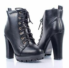 """Black Color Combat Military Chunky 4.5"""" High Heel Womens Mid-Calf Boots Size 8.5"""