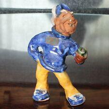 Early Tintagel Pottery, Cornwall, Cornish Fisherman Figurine with Original Label