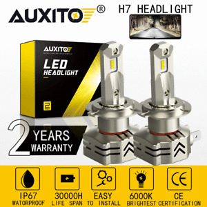 AUXITO H7 LED Headlight Bulb High Low Beam Kit 6000K 12000LM Bright CANBUS