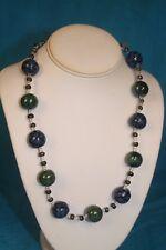 "NEW - KAZURI 22"" PLAIN ROUNDS Beaded Necklace Green, Blue and Black sku #1739"