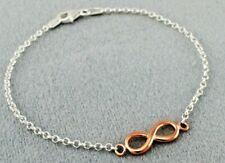 Plaqué or Rose 925 Argent Sterling Infini Bracelet 7.5 inches