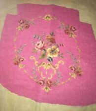 Vintage Petite Point Astria Floral Chair Seat Cover 21 X 21 Wool