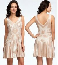 $500 NWT bebe ivory double v neck beaded sequin embellished top dress S Small