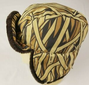 Vintage Browning Hat Cap Goose Down Hunting Camo Trapper Ear Flaps Size L