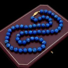 Antique Vintage Art Deco Gold Plated Japanese Carved Lapis Lazuli Bead Necklace