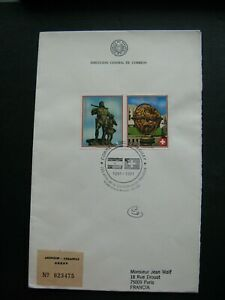 PARAGUAY, R-cover FDC 1991, pair globe UNO Wilhelm Tell statue