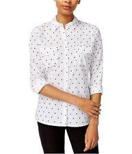maison Jules Womens Polka Dot Button Down Blouse, White, X-Large