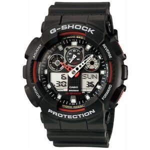 Casio G-Shock Mens Watch GA100-1A4  GA-100-1A4DR Digital-Analogue Black Red