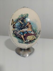 Vintage Decorative Mounted Emu Egg with Romantic Scene by KIH