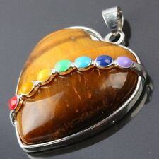 7 Bead Chakra Tiger's Eye Stone Heart LOVE Gemstone Charms Pendant Fit Necklace