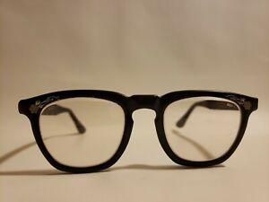Vintage Eyeglasses Black Frames with Lenses Corners Embellished Dual Corners 5.5