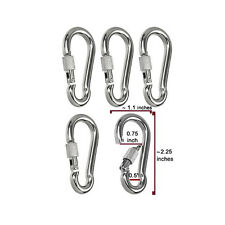 Set of 5 Non-Rust Stainless Steel Round Eye Spring Snap Links with Screw Locks