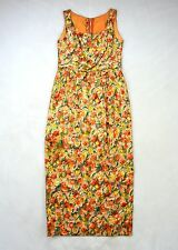 JAY HERBERT Vtg Gold Brocade Water Color Floral Sleeveless Maxi Dress D Cup Med