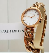 KAREN MILLEN Ladies Watch Chain Bracelet Rose Gold RRP £189 NEW IDEAL GIFT! (KM9