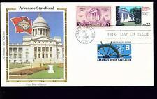 1986 FDC - Scott# 2167 COMBO - Arkansas Statehood - Colorano Silk Cachet   UA