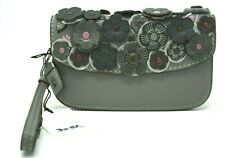 Coach Small Tea Rose Applique Heather Grey Leather Clutch Wristlet 23536