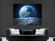 PLANET EARTH SPACE THE MOON POSTER STARS GALAXY IMAGE PRINT GIANT WALL ART
